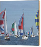 Yachts Flying Spinnakers During Race Wood Print