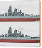 Yamato Class Battleships Port Side Wood Print
