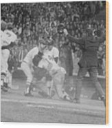 Yankees And Red Sox Players In Scuffle Wood Print
