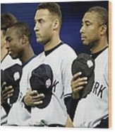 Yankees Listen To The National Athem Wood Print