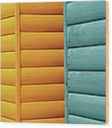 Yellow & Blue Beach Huts Abstract Wood Print