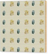 Yellow And Green Present Pattern Wood Print