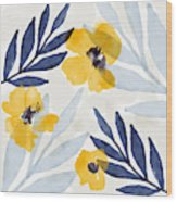 Yellow And Navy 1- Floral Art By Linda Woods Wood Print
