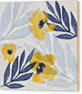 Yellow And Navy 2- Floral Art By Linda Woods Wood Print