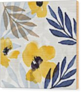 Yellow And Navy 3- Floral Art By Linda Woods Wood Print
