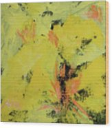 Yellow Blooms Coral Accents Wood Print