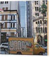 Yellow Graffiti Truck Downtown La Wood Print