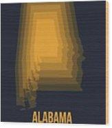Yellow Map Of Alabama Wood Print