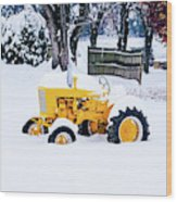 Yellow Tractor In The Snow Wood Print