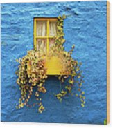 Yellow Window On Bright Blue Wall & Wood Print