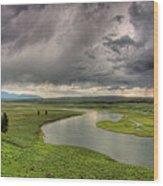 Yellowstone River In Hayden Valley Wood Print