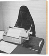 Yemeni Woman Typing In Chador And Veil Wood Print