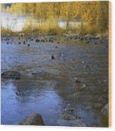 Yosemite River In Yellow Wood Print
