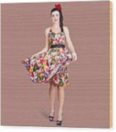 Young Beautiful Dancer Posing On Tan Background Wood Print