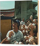 Young Fans Hold Up Baseballs For Royals Star George Brett To Sign Wood Print