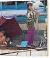 Young Girl With Snake 2, Cambodia Wood Print