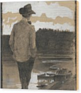 Young Man On A Riverbank Wood Print