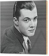 Young Man Wearing Pinstripe Jacket Wood Print