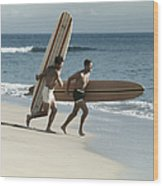 Young Men Running On Beach With Wood Print