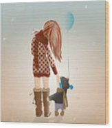 Young Mother With A Child Walking Wood Print