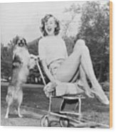 Young Woman And Her Pushy Pet Dog Wood Print