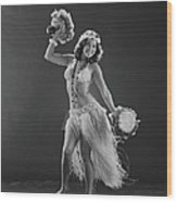Young Woman Hula Dancer With Feathered Wood Print