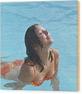 Young Woman In Bikini At Swimming Pool Wood Print