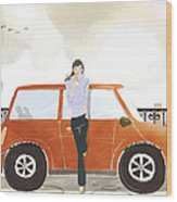 Young Woman Standing In Front Of Car Wood Print