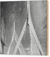 Zakim Bridge Boston Massachusetts Black And White Wood Print