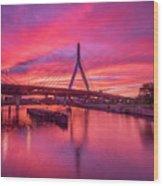Zakim Bridge Sunset Wood Print