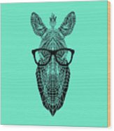 Zebra In Glasses Wood Print