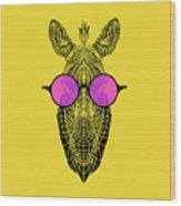 Zebra In Pink Glasses Wood Print