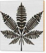 Zebra Pattern Marijuana Leaf 2 Wood Print