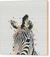 Zebra Watercolor Painting Wood Print