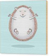 Zen Hedgehog Meditating Wood Print
