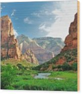 Zion Canyon, With The Virgin River Wood Print