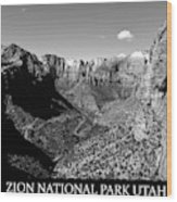 Zion Nationa Park Utah Wood Print