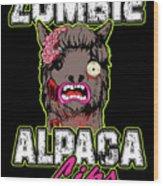 Zombie Alpaca Lips Halloween Pun Llama Alpacalypse Dark Wood Print