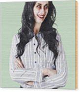 Zombie Businesswoman Wood Print