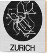 Zurich Black Subway Map Wood Print