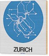 Zurich Blue Subway Map Wood Print