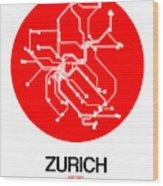 Zurich Red Subway Map Wood Print