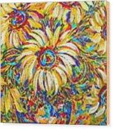 Sunflower Burst Wood Print