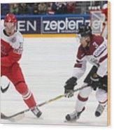 2016 IIHF Ice Hockey World Championship Group Stage: Denmark vs Latvia Wood Print