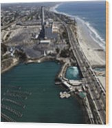 Aerial Views Of Construction On The Carlsbad Desalination Plant Wood Print