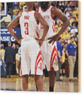 Chris Paul and James Harden Wood Print