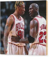 Dennis Rodman and Michael Jordan Wood Print