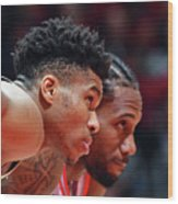 Kawhi Leonard and Giannis Antetokounmpo Wood Print