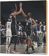 Kevin Durant and James Harden Wood Print