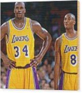 Kobe Bryant and Shaquille O'neal Wood Print